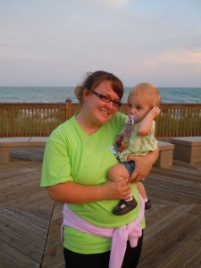 Becky with my youngest, Eva at the beach this fall